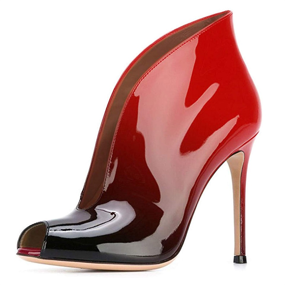 Women Handmade Pumps Sexy Peep-toe High Heels Stiletto Patent leather Vamp Shoes Women