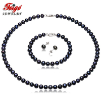Vintage Black Pearl Necklace Jewelry Sets for Women Anniversary Gifts 6 7MM Freshwater Pearls Pure 925 Silver Earring Set FEIGE