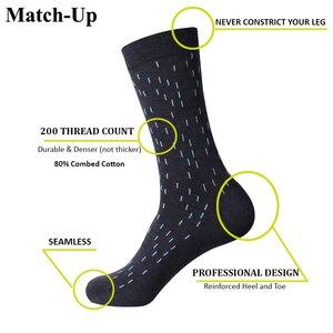 Image 2 - Классические хлопковые носки в горошек для мужчин, повседневные носки с узором ромбиками, размеры 7,5 12 (5 пар/партия) США