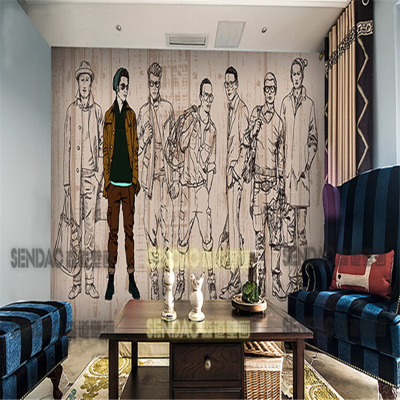 Fashion figure mural wallpaper coffee shop the girl in the for Mural coffee shop