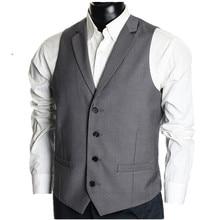 High quality custom men's vest formal wedding the groom waistcoat lapels simple style single-breasted suit vest