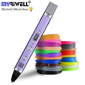 Myriwell caneta led de tela, 1.75mm abs/pla diy 3d, carregamento usb 3d impressão caneta + 100m filamento, criativo, brinquedo, presente para crianças, design