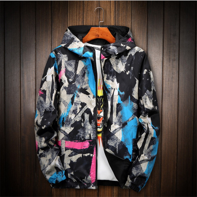 ABSTRACT STYLE CASUAL HOODED JACKET (4 VARIAN)