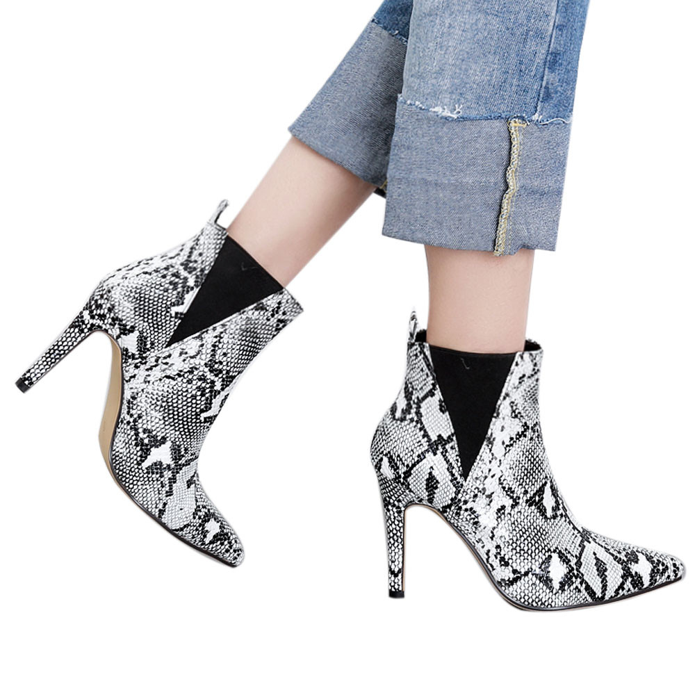 Waterproof Boots Women Ankle Boots Pointed Toe Thin Heels Snake Print Shoes Fashion Sexy Women Snow Boots Botas Nieve