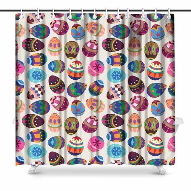 Aplysia Easter Egg Bathroom Decor Shower Curtain Set with Hooks, 72 ...