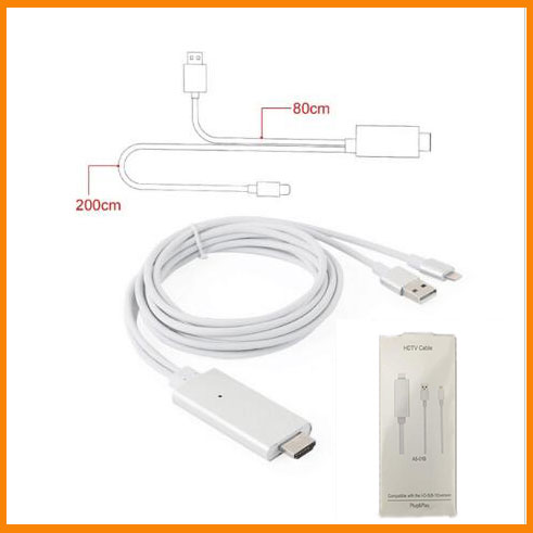 iphone 5 hdmi cable 2m hdmi cable hdtv cable for lighting usb to hdmi hd1080p 14525