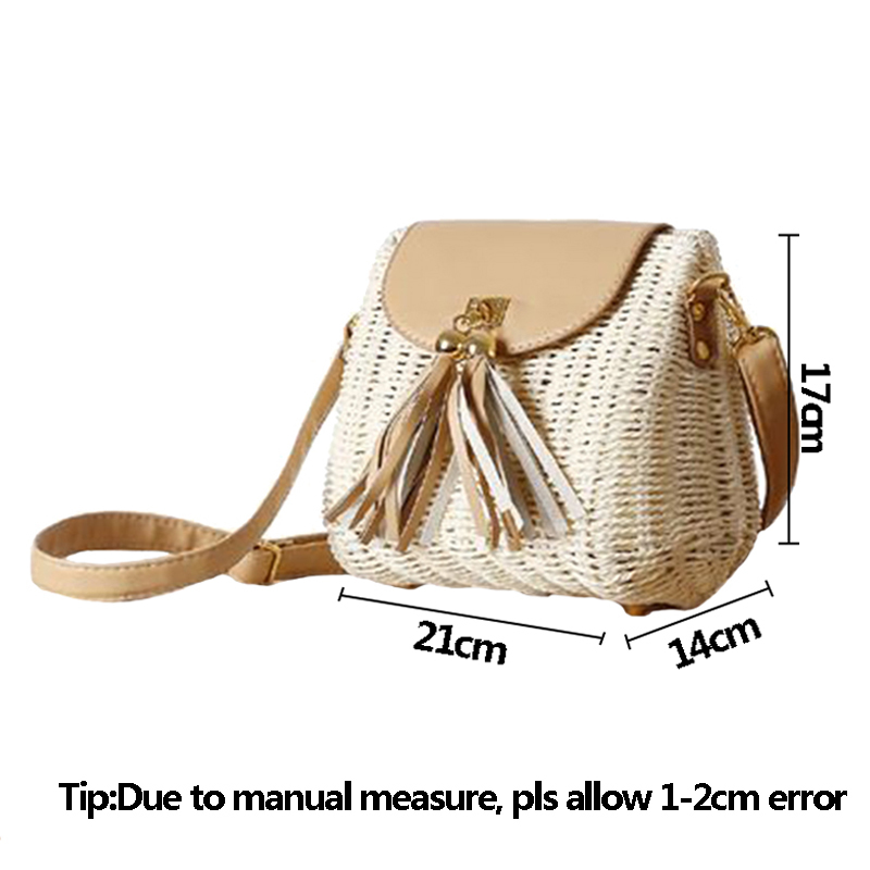 New Women Tassel Straw Bags Bohemian Female Vintage Rattan Knitted Handbag Summer Beach Lady Casual Weave Shoulder Bag SS3161 (7)