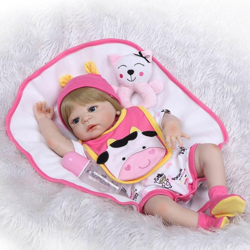 Original 55cm Full Silicone Reborn Baby Doll Vinyl Blonde Newborn Princess Toddler Babies Child Girl Boneca Alive Bebe Bathe Toy