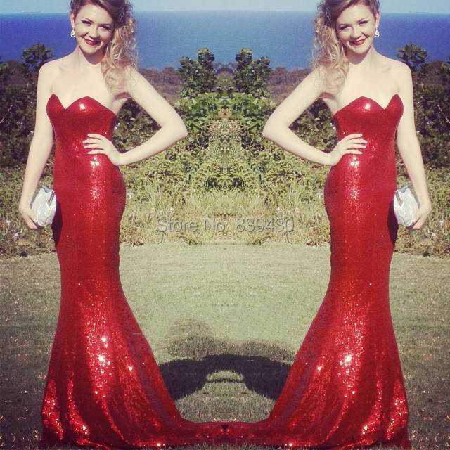 Sparkling Sexy Red Jessica Rabbit Sequined Long Prom Dresses