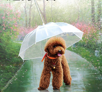 Hot Sale Cute Fashion Transparent Dog Puppy Pet Umbrella Leash For Small Dog Outdoor Rain Travel