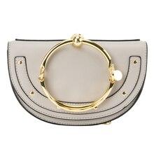2019 Luxury Women Bag Brand Shoulder Bag Half Moon Handbag Fashion Crossbody Bag Split Leather Purse Ring Ladies Bag цены онлайн