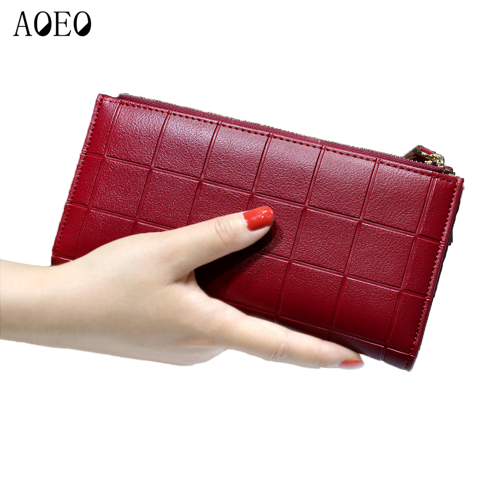 Women Leather Purse Plaid Wallet Red Clutch Double Zipper