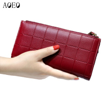 Women Leather Purse Plaid Wallets Long Ladies Colorful Walet Red Clutch 10 Card Holder Coin Bag
