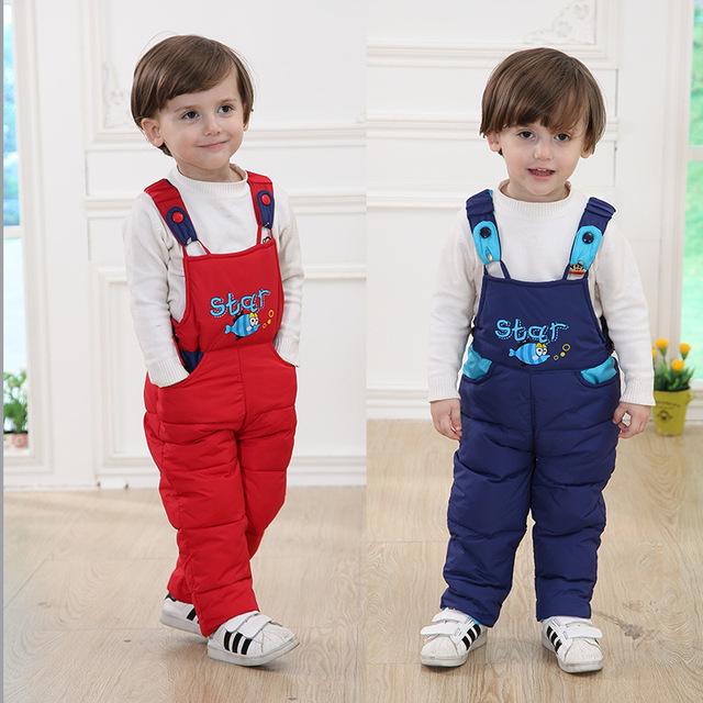 2016 New Winter Children Down Pants Boys Girls Strap Pants Baby Warm Pants Fill White Duck Down