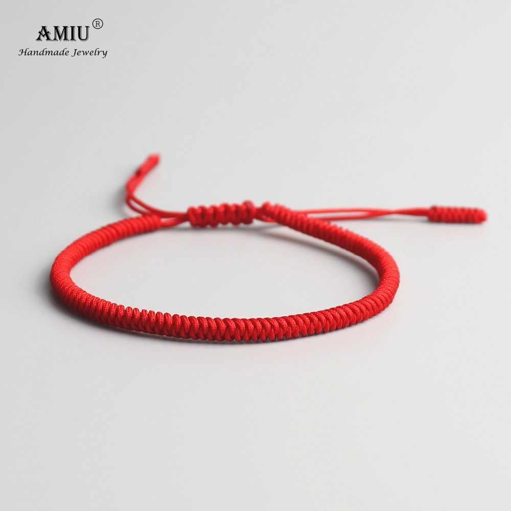 Amiu 薄型チベット仏教女性サイズチベットブレスレット & バングル女性のためのノットお守り赤ロープギフトブレスレット