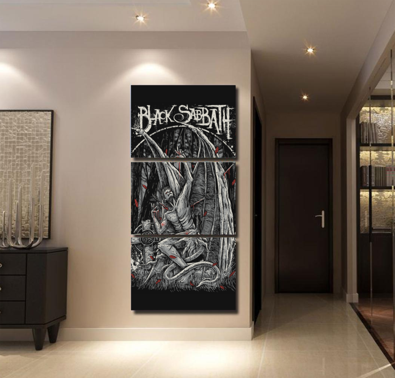 Canvas HD Printed Poster For Living Room Wall Art Modular Pictures 3 Pieces Black Sabbath Painting Home Decorative Framework