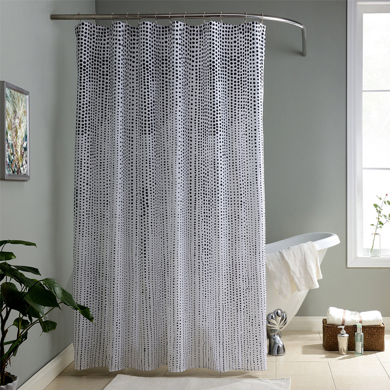 1pcs 1.8*1.8m Polyster Black Dot Simple Bathroom Shower Curtain ...