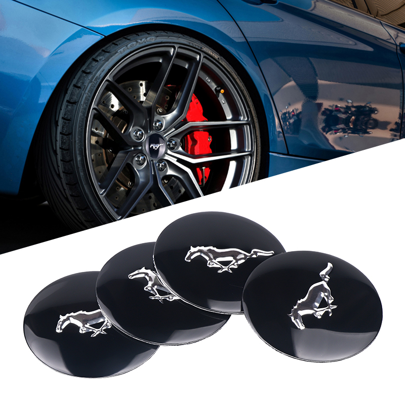 4pcs/lot Car Styling 56mm Mustang Falcon Car Emblem Wheel Center Car Tyre Steering Hub Cap Decoration Sticker For Ford Mustang