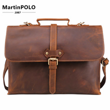 Hot Vintage Crazy Horse Leather Men's Briefcase Laptop Bag Business Bag Genuine Leather Briefcase Men Shoulder Bag Crossbody bag