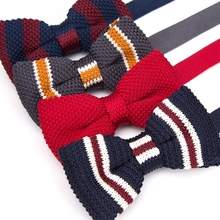 Mens Bowtie Knitted Knit Leisure Striped Bow Ties for Men Adjustable Butterfly Double Deck Neckwear Woven Necktie Tie Cravat