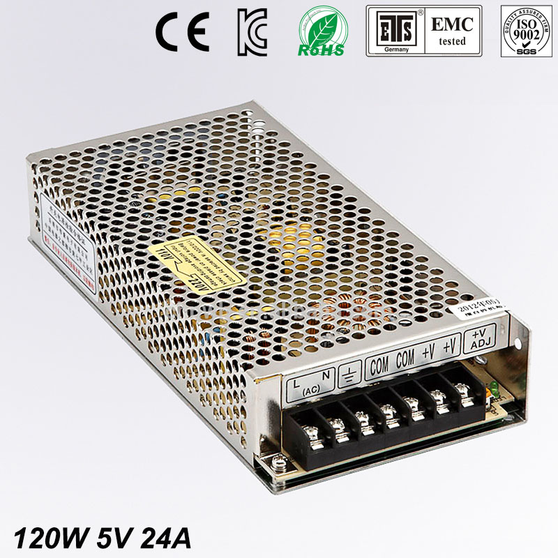 Universal 5V 24A 120W Regulated Switching Power Supply Transformer 100-240V AC to DC For LED Strip Light Lighting CNC CCTV MOTOR