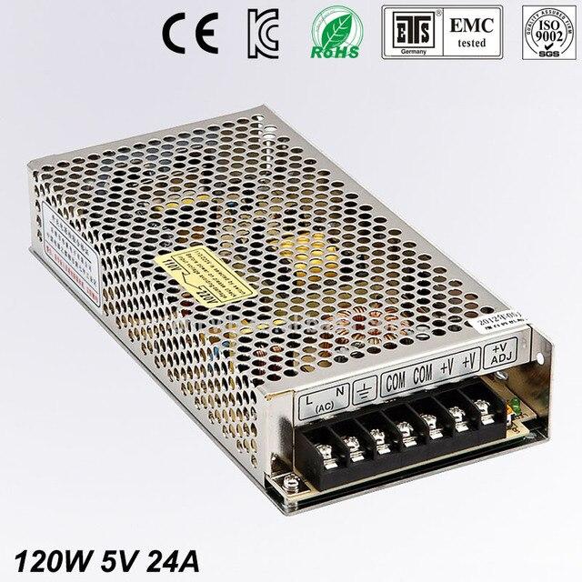 Universal 5V 24A 120W Regulated Switching Power Supply Transformer 100-240V AC to DC For LED Strip Light Lighting CNC CCTV MOTOR