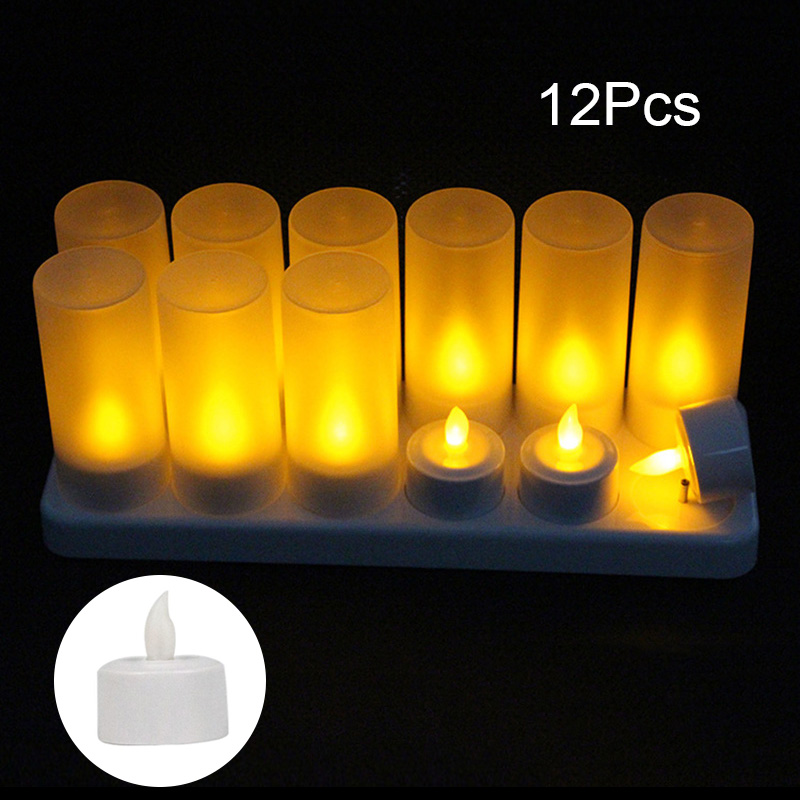 12Pcs Rechargeable LED Flameless Candle Light Long Lasting for Restaurants Home Party Decor JDH99