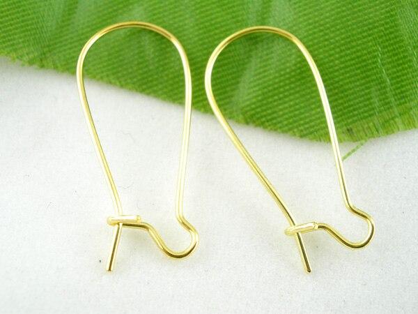 Zinc Metal Alloy Earring Hooks Components Earring Findings Twist Gold Color 24mm X 11mm, 35 PCs
