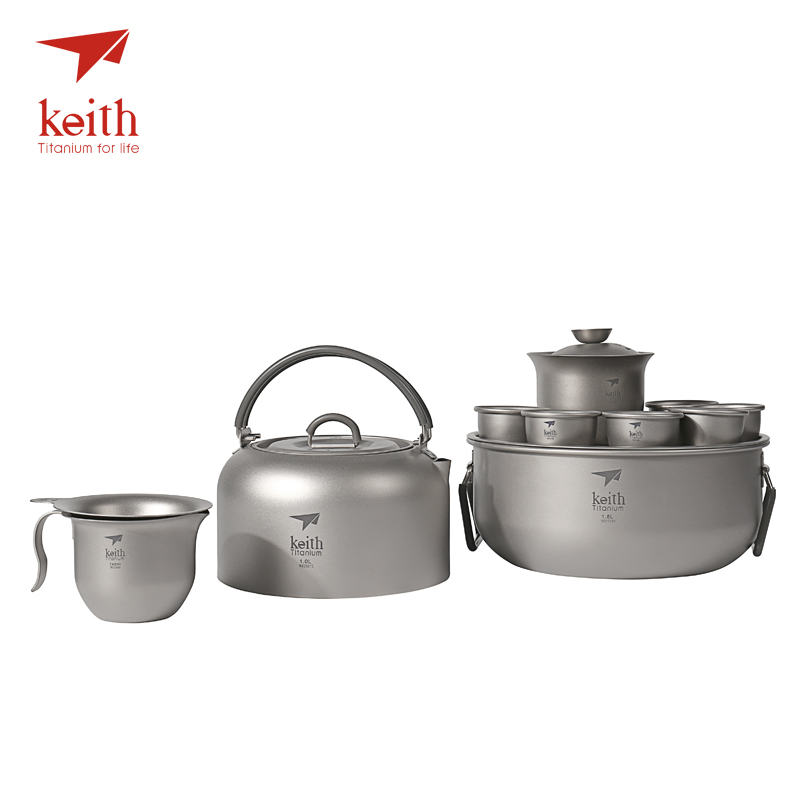 Keith Titanium Chinese KongFu Tea Set Luxury Portable Outdoor Camping Cup Hiking Drinkware Ultralight Only 570g Ti3900 keith camping cup titanium cup outdoor cup ti3267