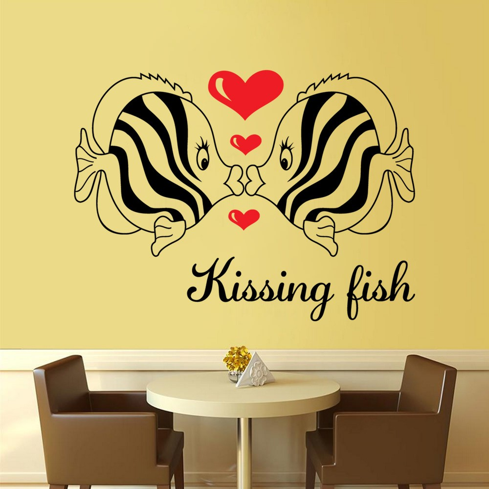 Free Shipping DIY Wall Art Decal Decoration kissing fish love Wall ...