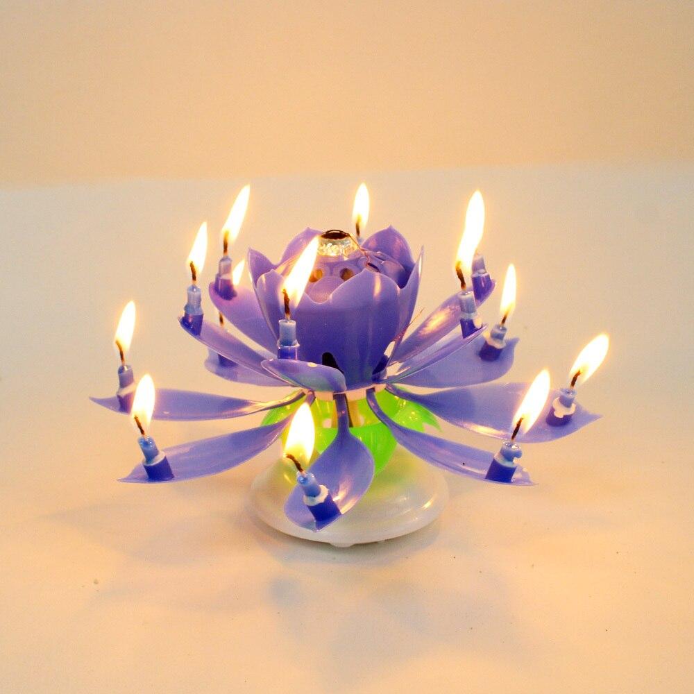 Music Birthday Candle Firework Musical Lotus Rotating Happy Birthday