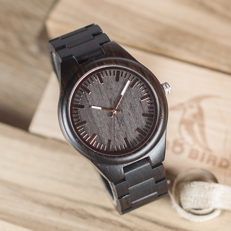BOBO BIRD Full Ebony Wood Watch for Men Analog Quartz Movement Wooden Strap Wristwatch relogio masculino B-I22 bobo bird luxury designer watches men style wooden watch wood strap wristwatch with paper gift box relogio masculino brand top