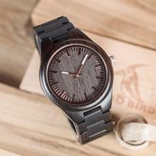 BOBO BIRD Full Ebony Wood Watch for Men Analog Quartz Movement Wooden Strap Wristwatch relogio masculino B-I22