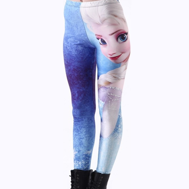 Character Animation Figures Beautiful Leggings 3D Digital Print Elsa Womens Ladies Cartoon Leggings Fitness Pants Hot Sale
