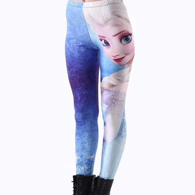 c580d296b2e81 Character Animation Figures Beautiful Leggings 3D Digital Print Elsa Womens  Ladies Cartoon Leggings Fitness Pants Hot Sale