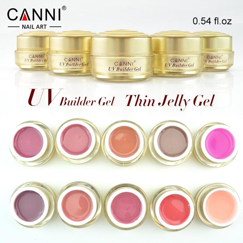 CANNI de Ouro garrafa ml de 15 Camuflagem fino fácil seca cor nude Geléia gel construtor Prego UV Soak Off 25 estender moldar gel verniz