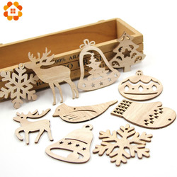 10PCS DIY Christmas Snowflakes&Deer&Tree Wooden Pendant Ornaments For Christmas Party Xmas Tree Ornaments Kids Gifts Decorations 1