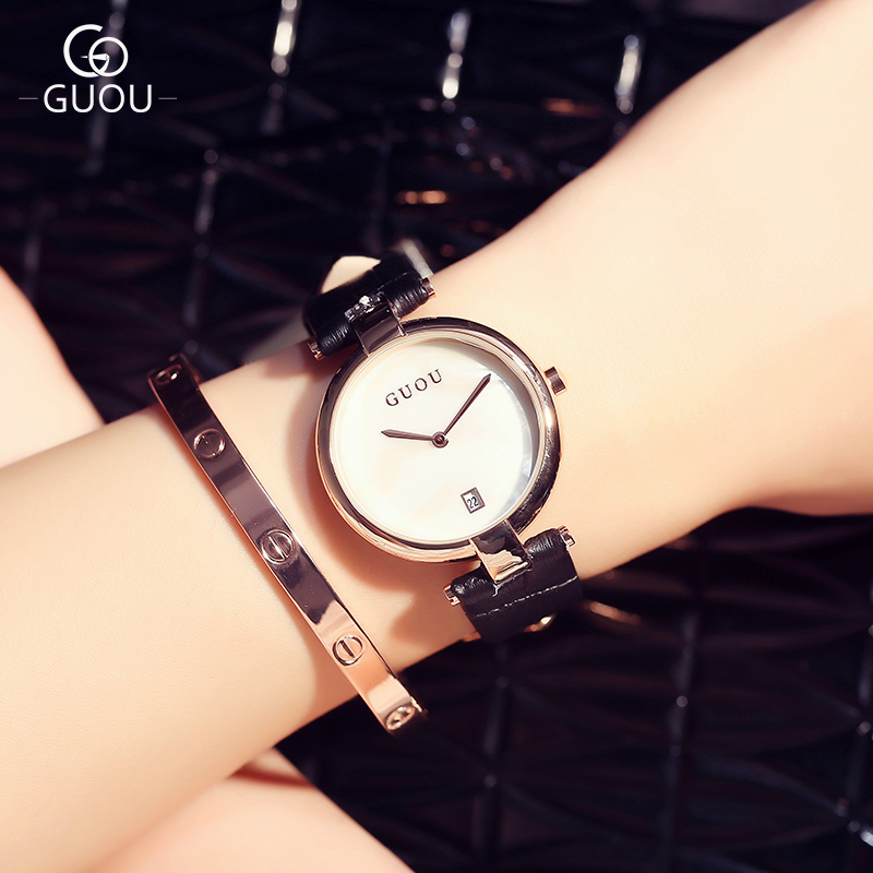 GUOU Brand Fashion Simple Style Women Watches Casual Leather Quartz WristWatches Waterproof calendar Clock Gift reloj mujer 8066 relojes mujer 2017 guou brand casual women watches fashion simple ladies quartz watch waterproof leather clock relogio feminino