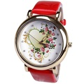Gnova Platinum Watch Women wedding gift flower Heart and Roses wristwatch Reloj Girl teens Ladies Girl Geneva style