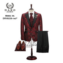2019 New Men Suit 3 Pieces tuxedo Slim Fit red coffee blue for Wedding Dress Suits Blazer Pant and Vest DARO8228(China)