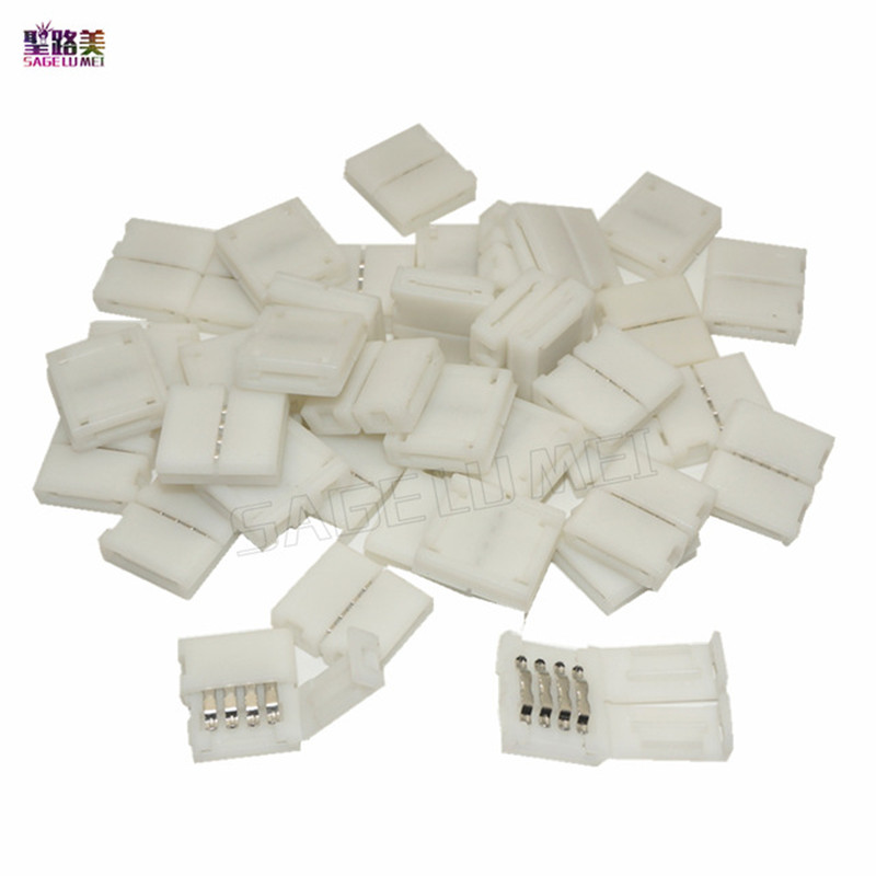 100 pcs/lot 10mm width 4-PIN RGB Connector Adapter For 5050 RGB LED Strip Light