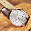 OLEVS Mens Diver Watches Top Brand Luxury Genuine Leather Strap Quartz Watch Men Fashion Style Wristwatches