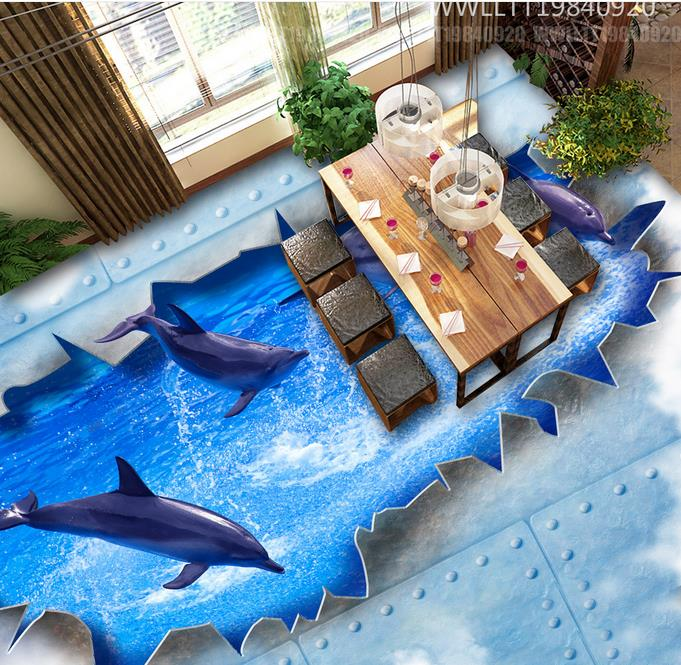 3d floor murals Dolphin playing in the water wallpaper roll 3d floor wallpapers for living room self adhesive wallpaper