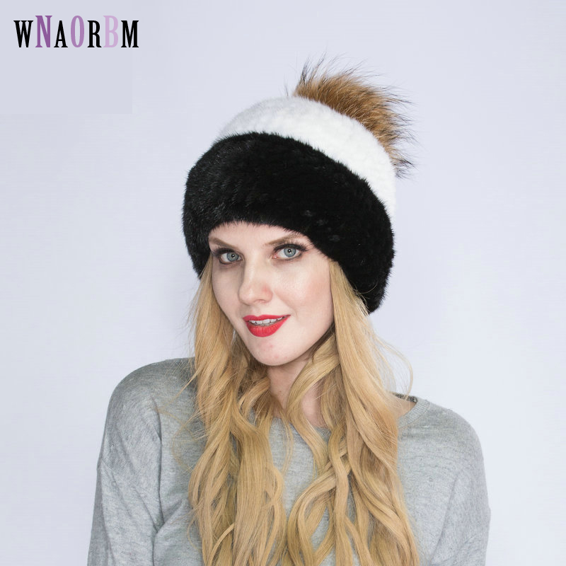WNAORBM 100% vison nouveau hiver chaud vison chapeau mode dame tissé eau vison chapeau coupe-vent oreille protecteur chapeau avec renard chapeau balle