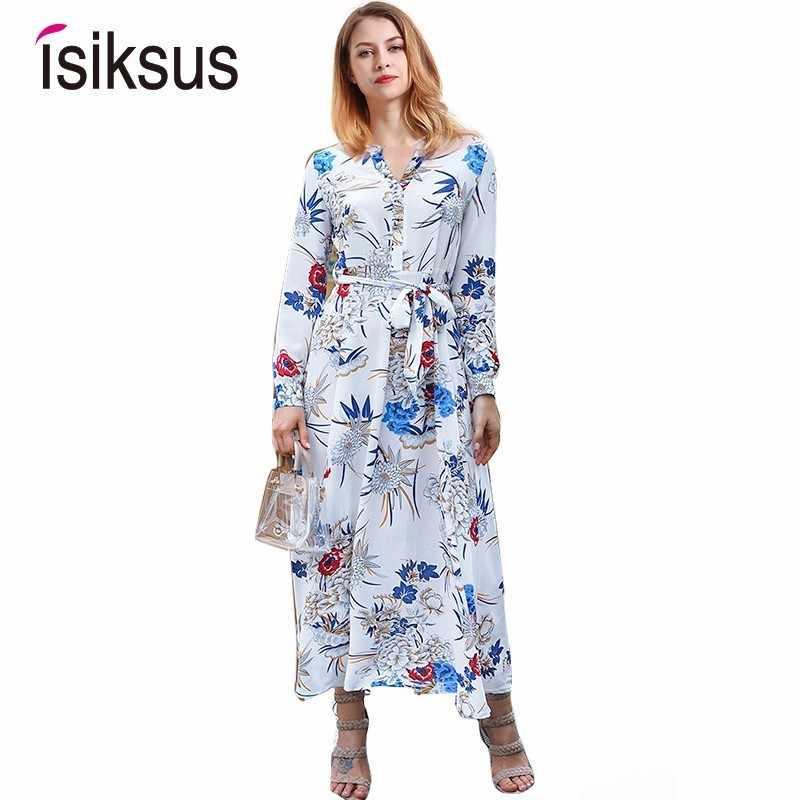 9f1d56f94d94f Isiksus V Neck Floral Maxi Dress Autumn Boho Vintage Female Dress Long  Sleeve White Beach Tropical 2018 Dresses For Women DR122