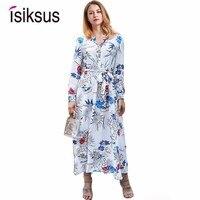 Isiksus V Neck Floral Maxi Dress Autumn Boho Vintage Female Dress Long Sleeve White Beach Tropical 2018 Dresses For Women DR122