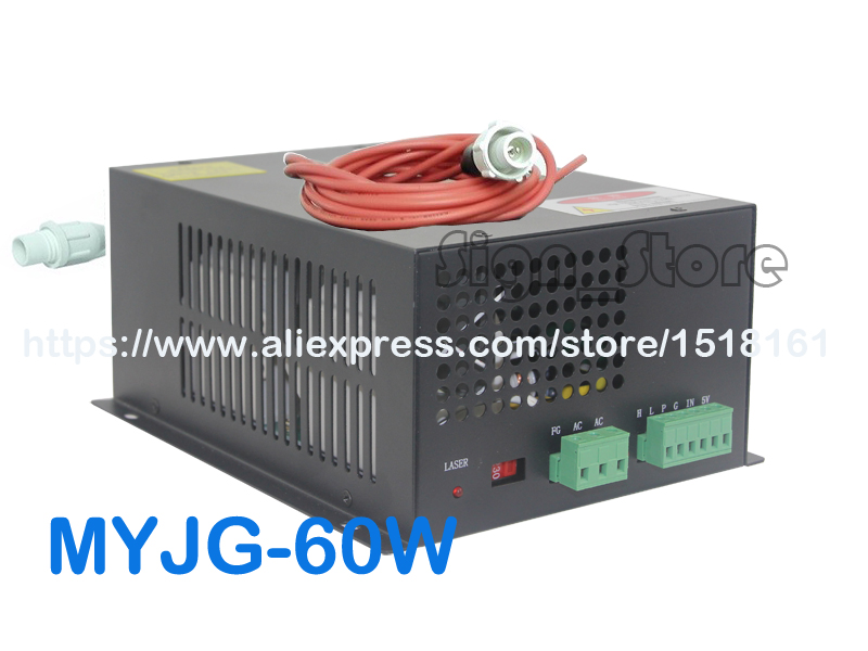 MYJG-60W CO2 Laser Power Supply 110V/220V High Voltage PSU for 60 Watt Tube Engraving Cutting Machine Engraver Cutter Equipment high voltage flyback transformer for co2 50w laser power supply