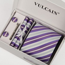 ties for men handkerchief and cufflinks & tie clip with gift box 5sets purple and silver striped 8 cm gravatas  lotes