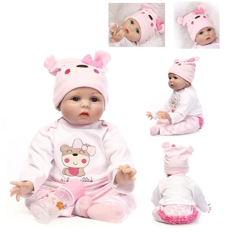 NPK 55 cm bébé Reborn Silicone Reborn poupées Simulation bébé poupées à la main doux poupée coton corps bambin cadeaux d'anniversaire pour les enfants