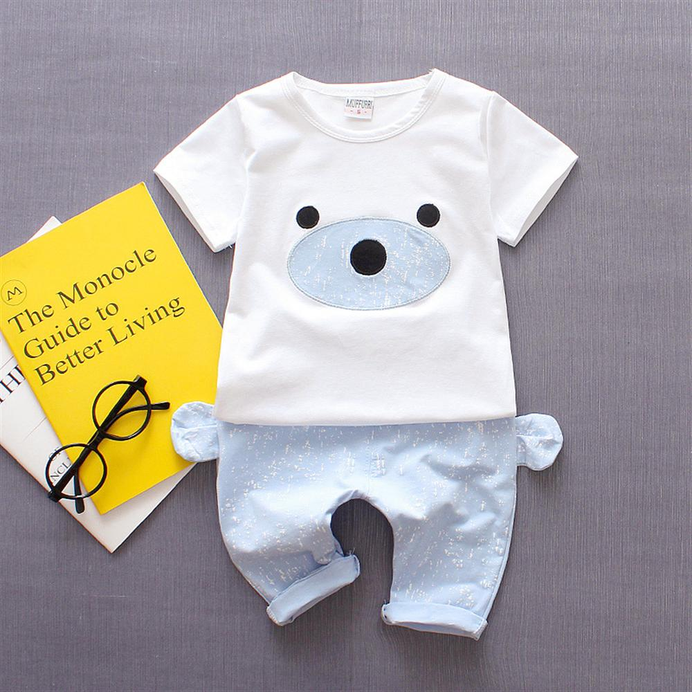 2018 Summer Boys Clothes Cotton Short-Sleeved Shirts Cute Ear Pans 2pcs Kids Suits for Boys Casual Children Clothing Set